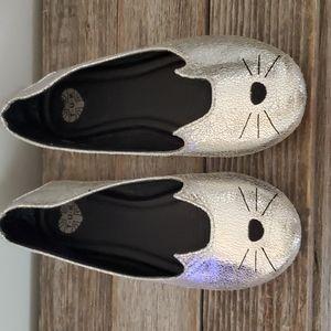 T.U.K Silver Cat Ballet Flats